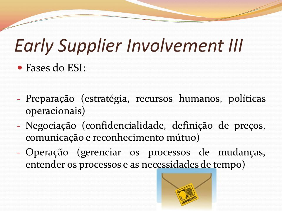 Early Supplier Involvement III