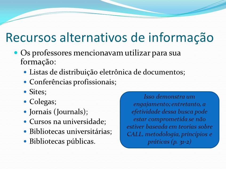 Recursos alternativos de informação