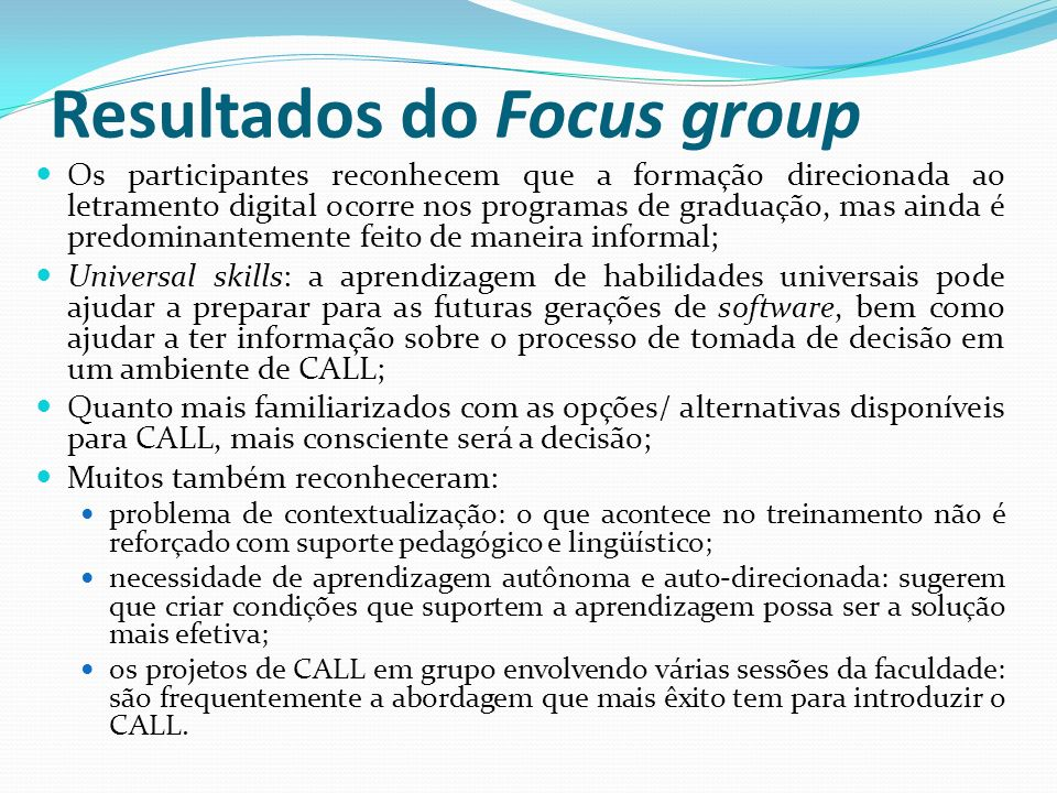 Resultados do Focus group