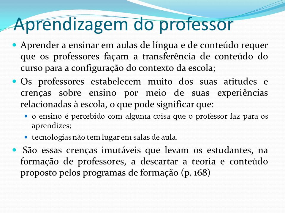 Aprendizagem do professor