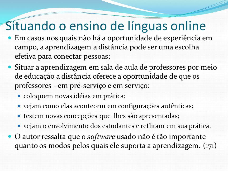 Situando o ensino de línguas online