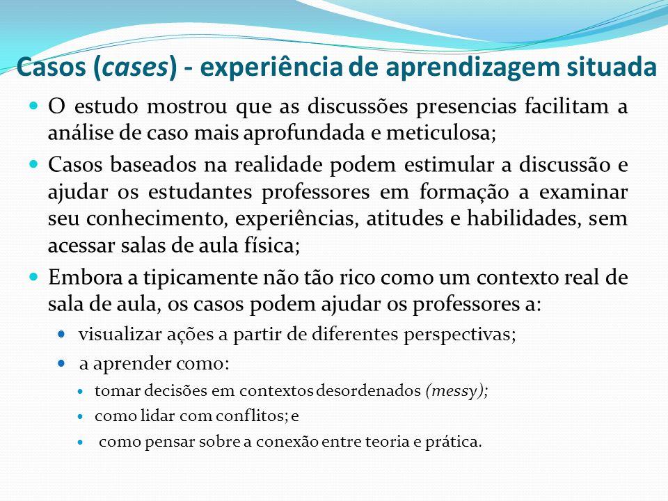 Casos (cases) - experiência de aprendizagem situada