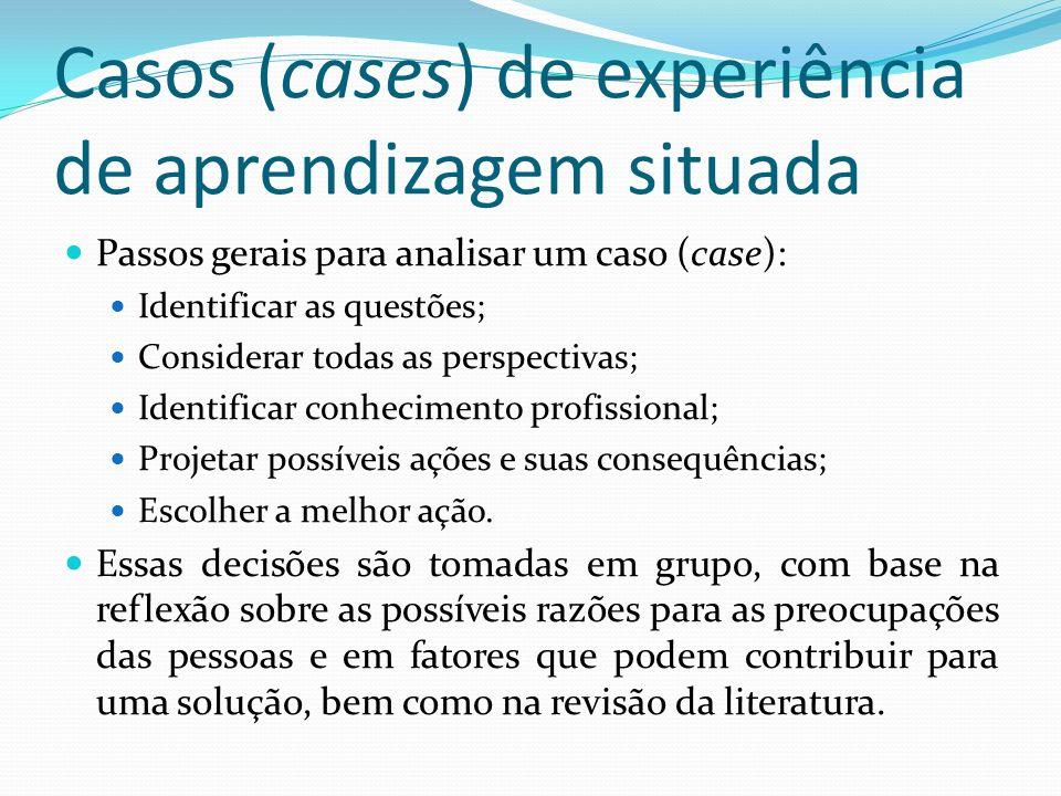Casos (cases) de experiência de aprendizagem situada