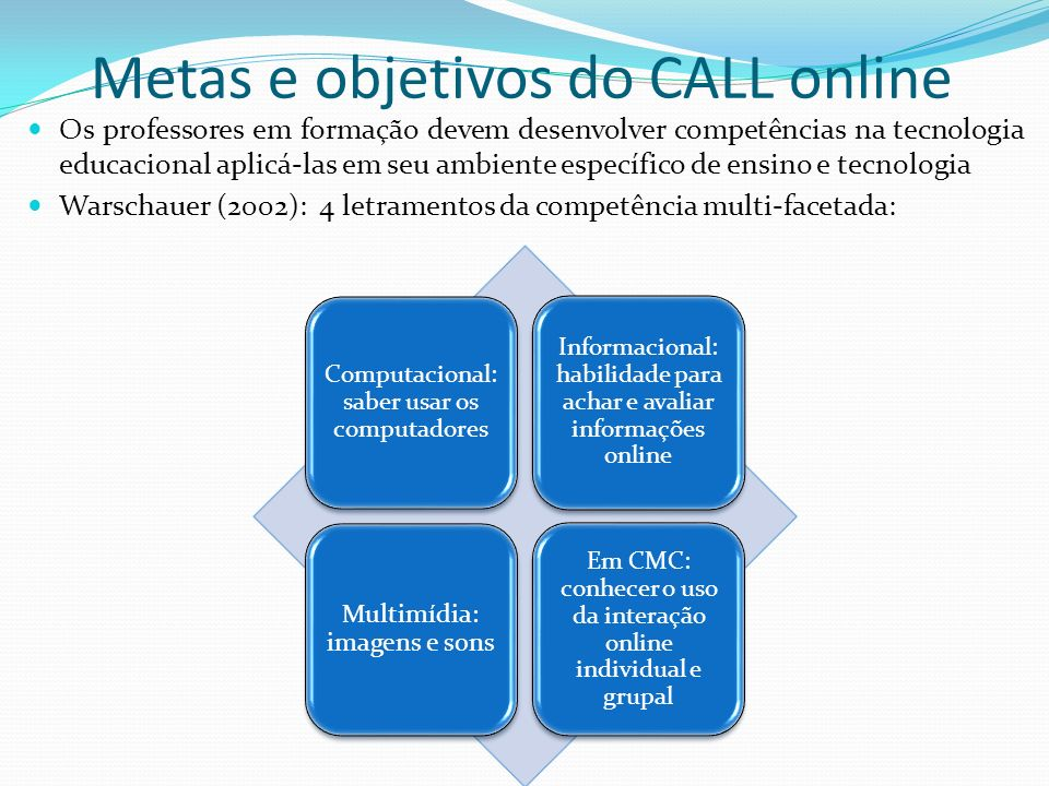 Metas e objetivos do CALL online