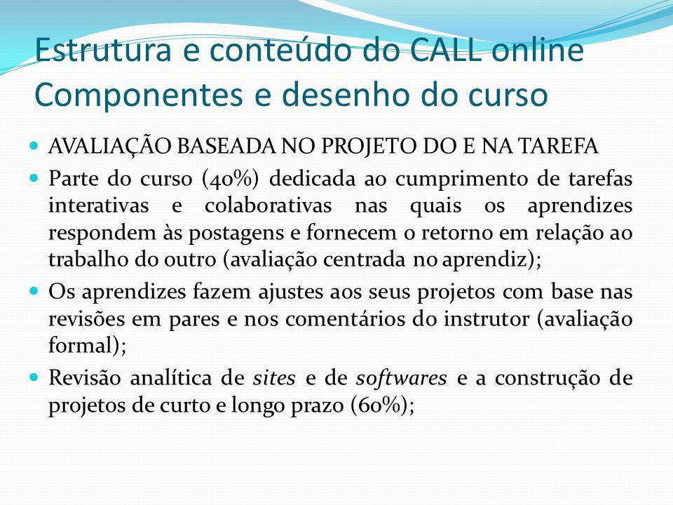 Estrutura e conteúdo do CALL online Componentes e desenho do curso
