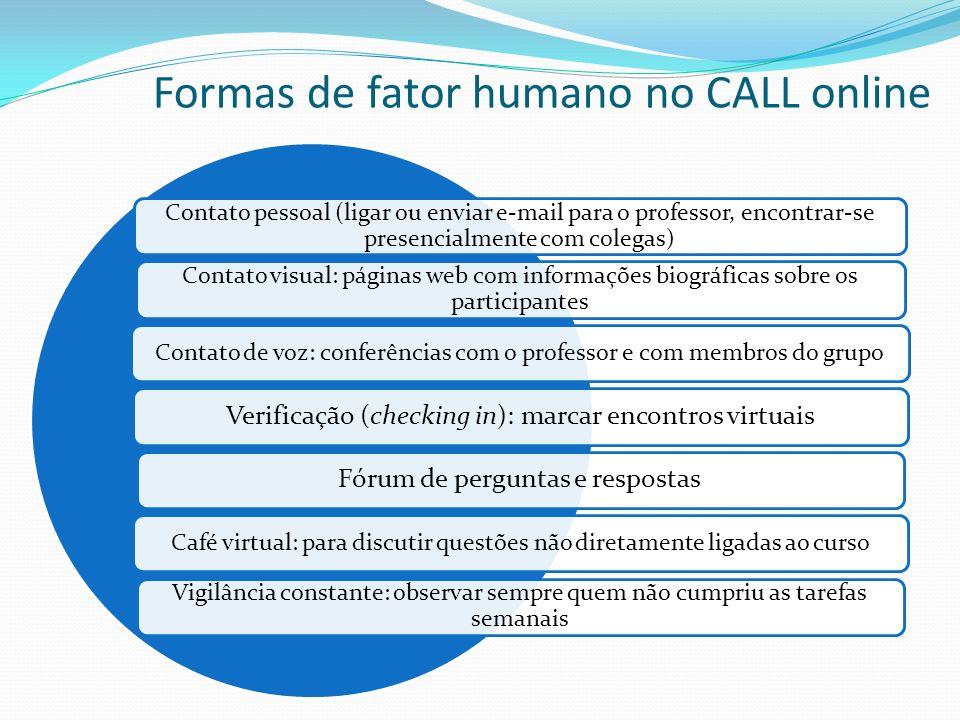 Formas de fator humano no CALL online