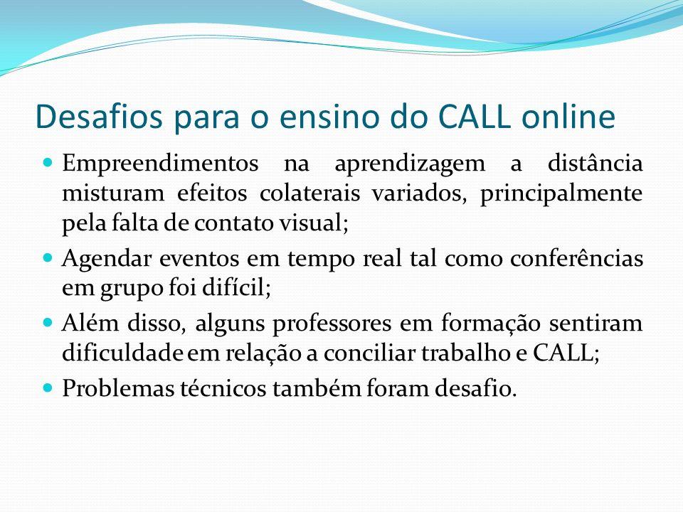 Desafios para o ensino do CALL online