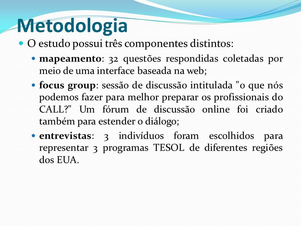 Metodologia O estudo possui três componentes distintos:
