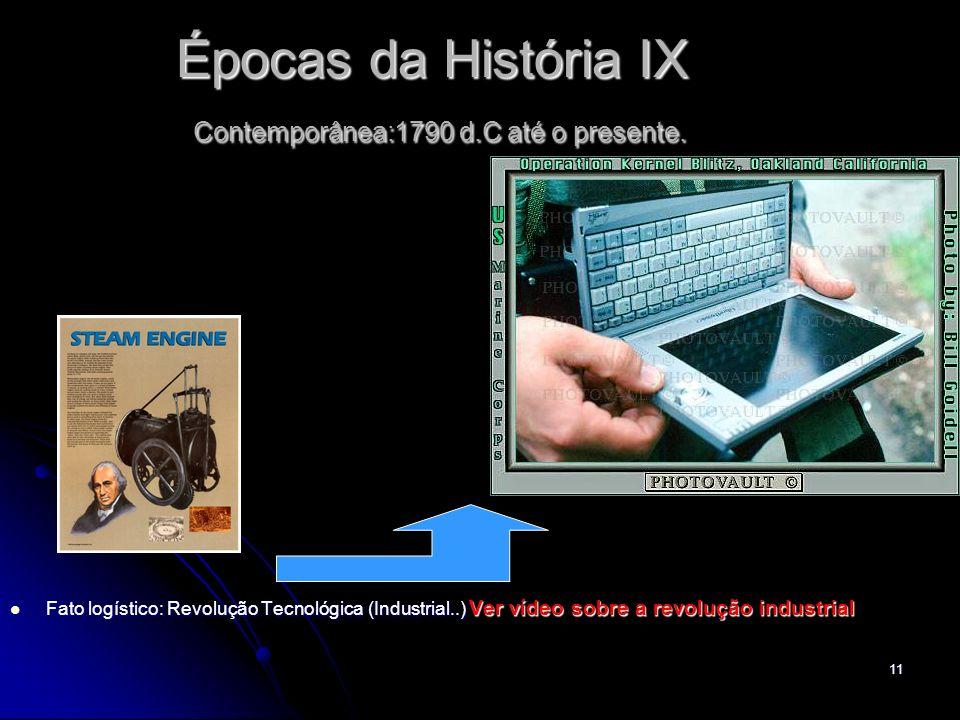 Épocas da História IX Contemporânea:1790 d.C até o presente.