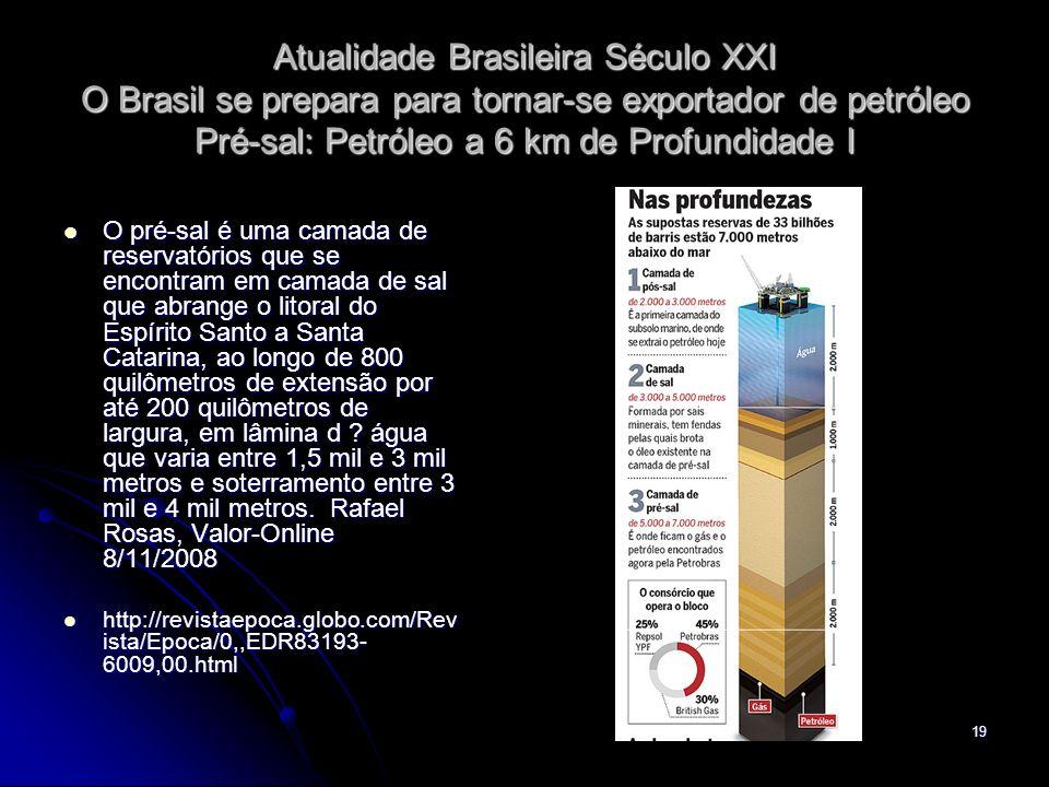 Atualidade Brasileira Século XXI O Brasil se prepara para tornar-se exportador de petróleo Pré-sal: Petróleo a 6 km de Profundidade I