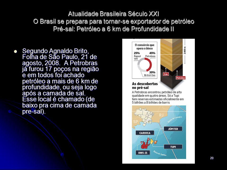 Atualidade Brasileira Século XXI O Brasil se prepara para tornar-se exportador de petróleo Pré-sal: Petróleo a 6 km de Profundidade II
