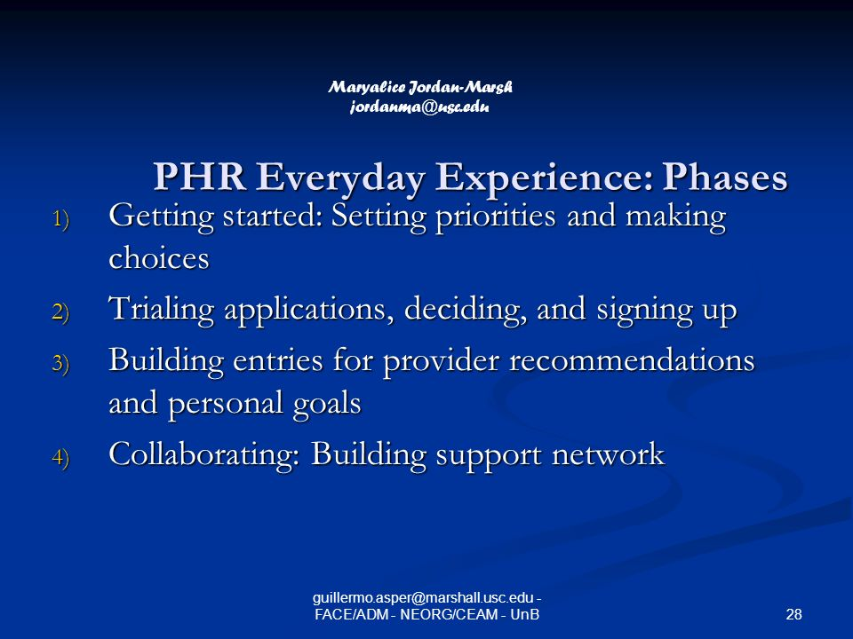 PHR Everyday Experience: Phases