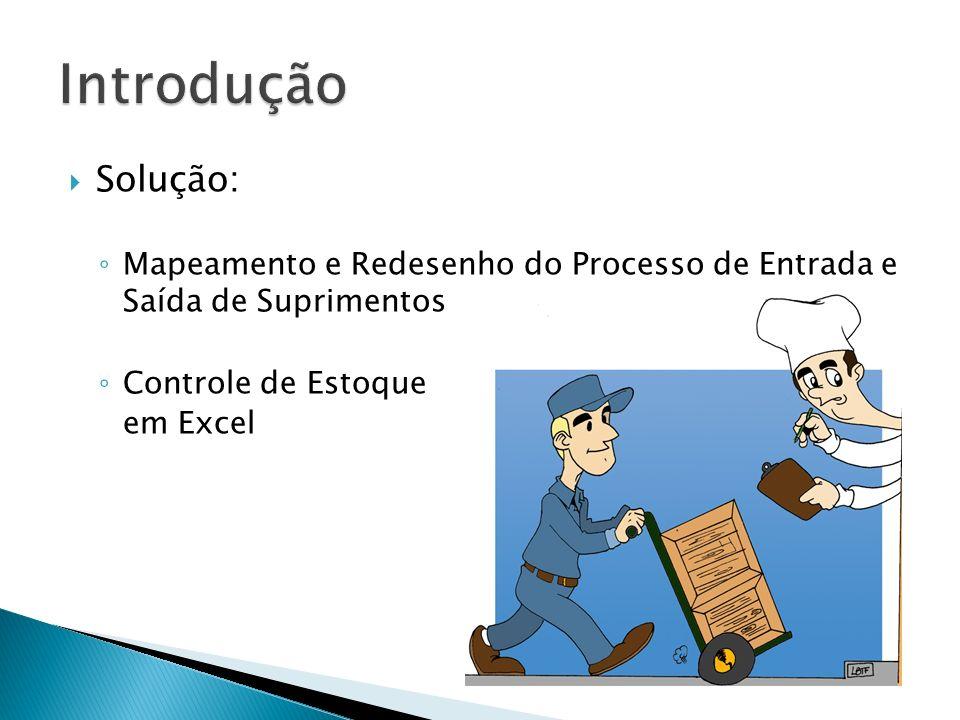 Introdução Solução: Mapeamento e Redesenho do Processo de Entrada e Saída de Suprimentos. Controle de Estoque.