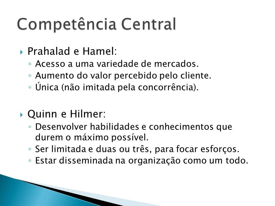Competência Central Prahalad e Hamel: Quinn e Hilmer: