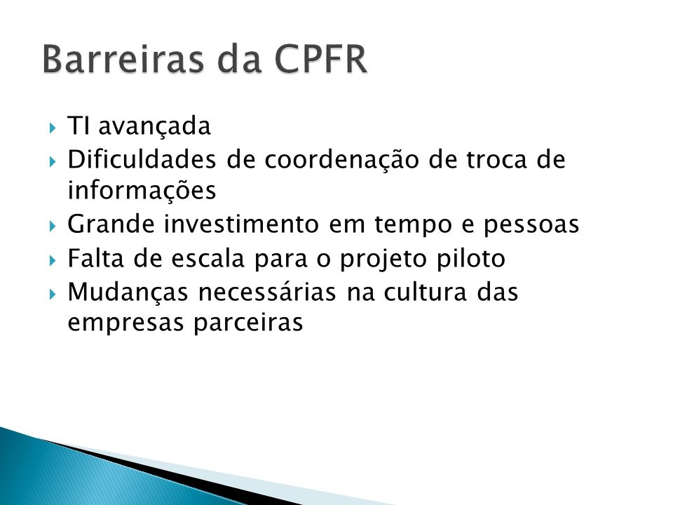 Barreiras da CPFR TI avançada