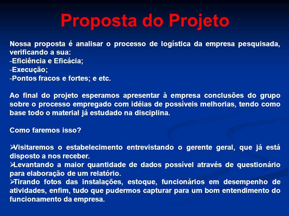 Proposta do Projeto Nossa proposta é analisar o processo de logística da empresa pesquisada, verificando a sua: