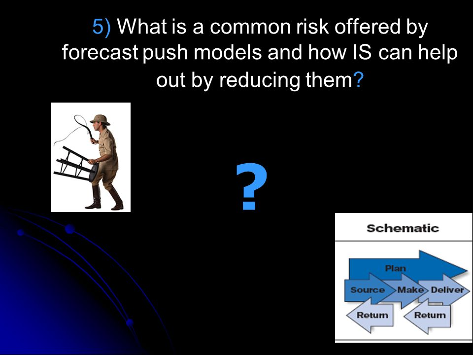 5) What is a common risk offered by forecast push models and how IS can help out by reducing them