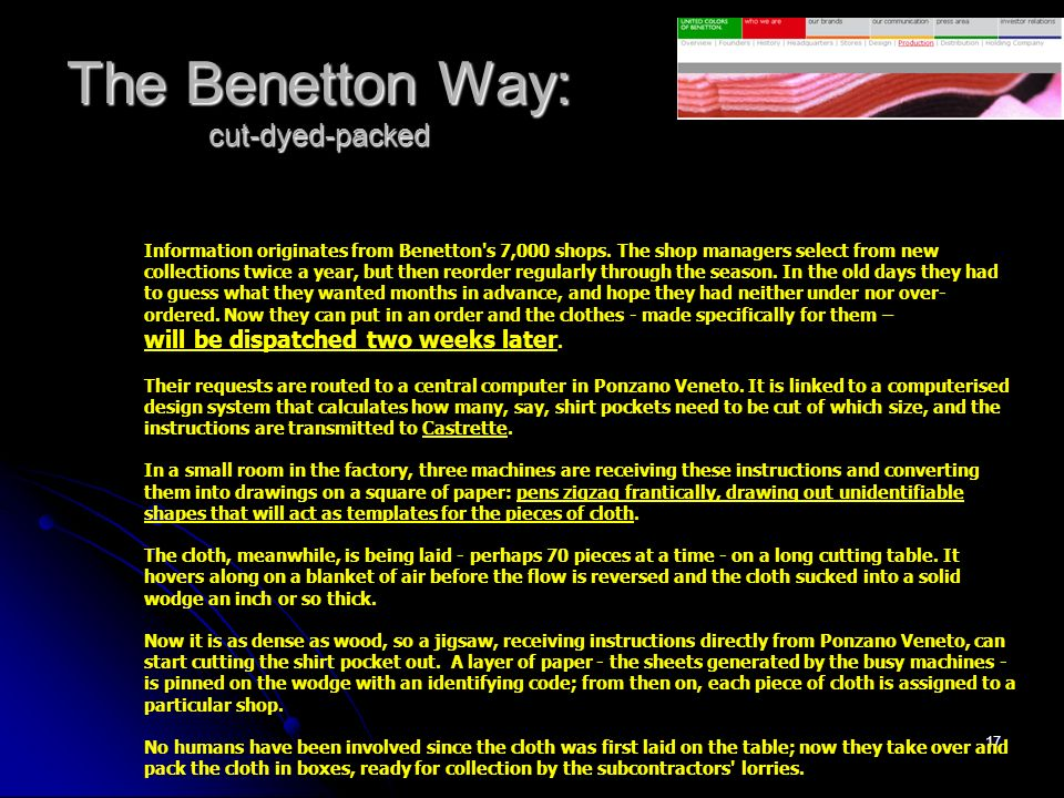 The Benetton Way: cut-dyed-packed
