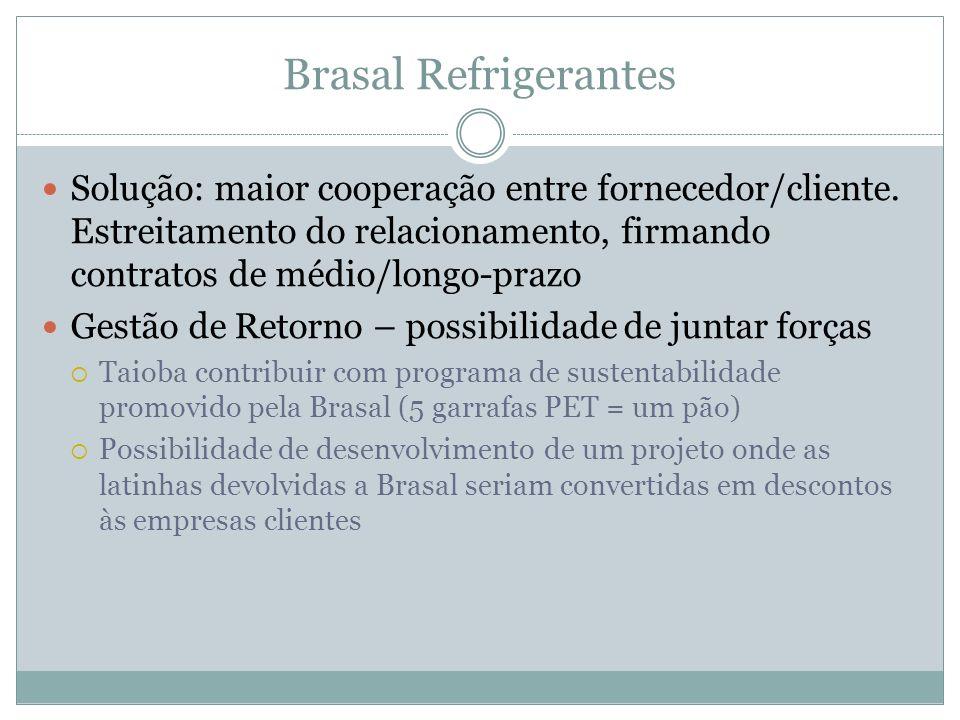 Brasal Refrigerantes Solução: maior cooperação entre fornecedor/cliente. Estreitamento do relacionamento, firmando contratos de médio/longo-prazo.