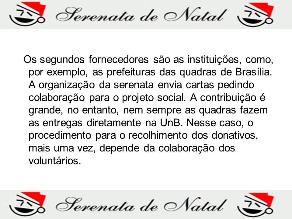 Os segundos fornecedores são as instituições, como, por exemplo, as prefeituras das quadras de Brasília.