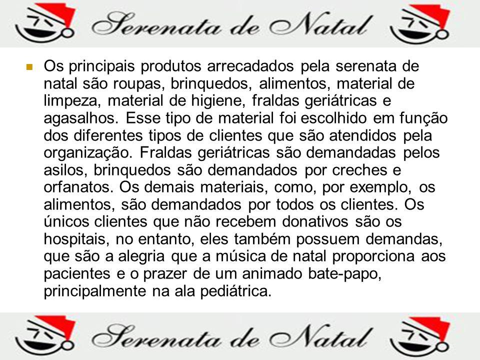 Os principais produtos arrecadados pela serenata de natal são roupas, brinquedos, alimentos, material de limpeza, material de higiene, fraldas geriátricas e agasalhos.