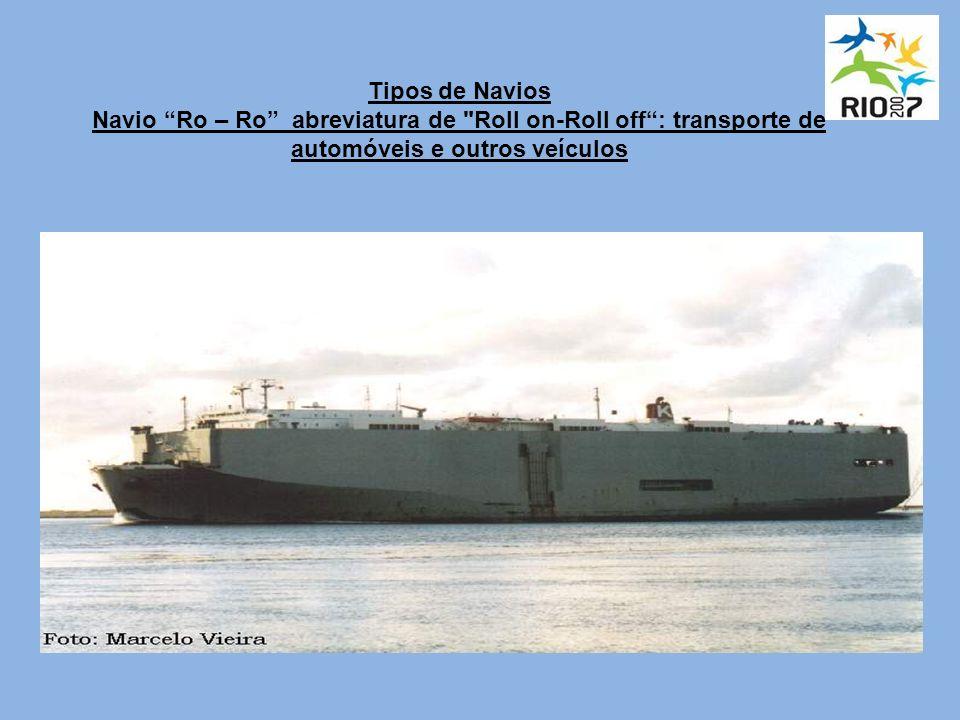 Tipos de Navios Navio Ro – Ro abreviatura de Roll on-Roll off : transporte de automóveis e outros veículos