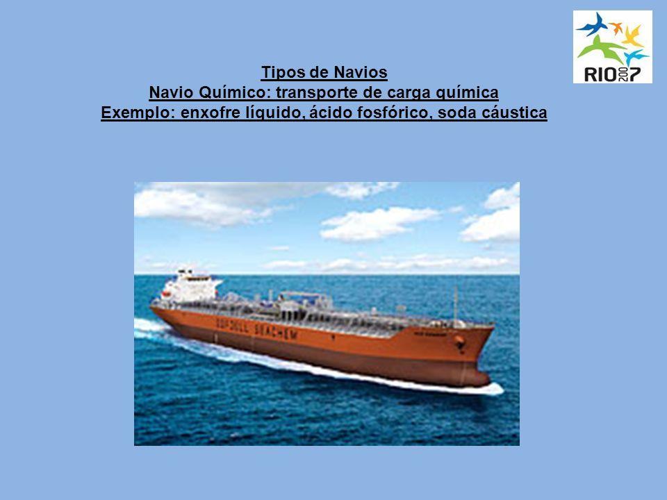 Tipos de Navios Navio Químico: transporte de carga química Exemplo: enxofre líquido, ácido fosfórico, soda cáustica