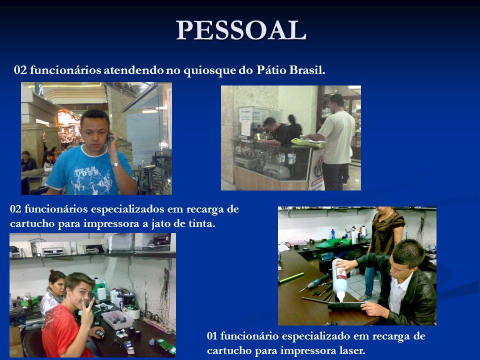 PESSOAL 02 funcionários atendendo no quiosque do Pátio Brasil.
