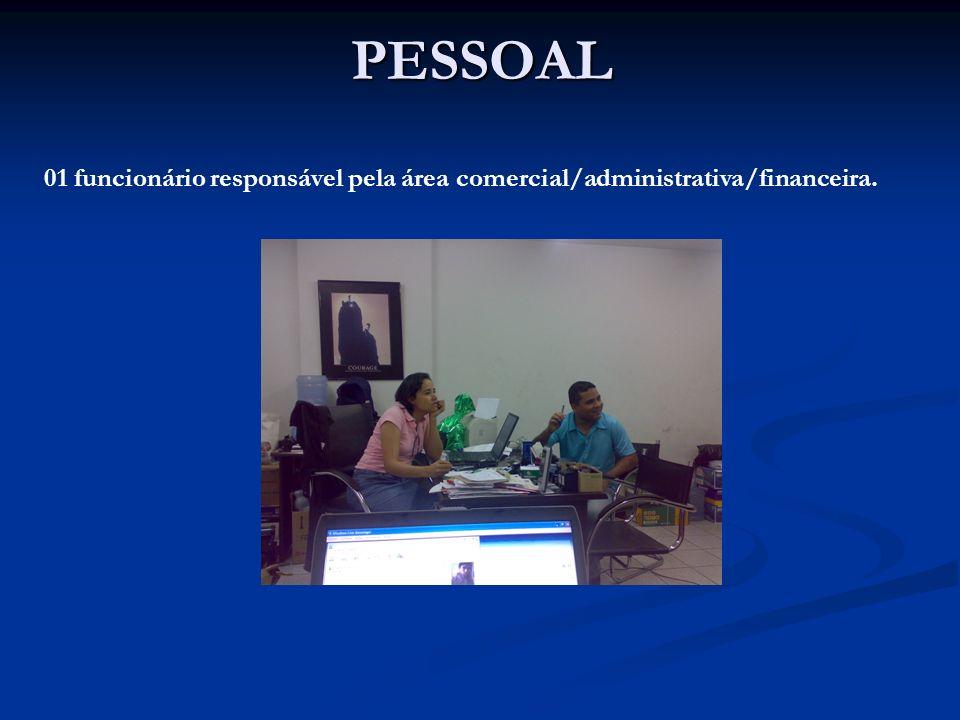 PESSOAL 01 funcionário responsável pela área comercial/administrativa/financeira.