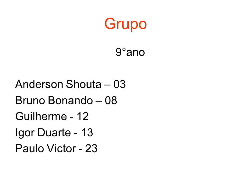 Grupo 9°ano Anderson Shouta – 03 Bruno Bonando – 08 Guilherme - 12