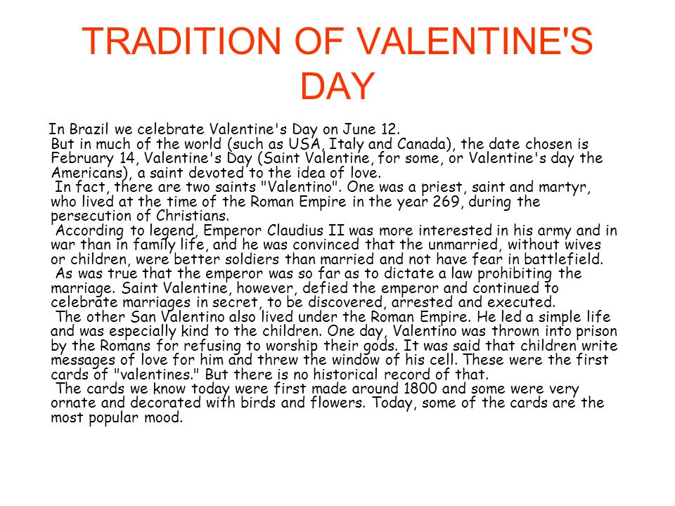 TRADITION OF VALENTINE S DAY