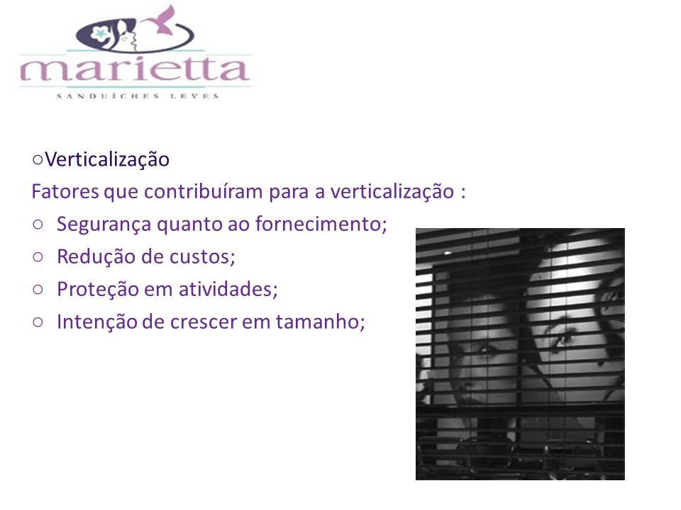 Verticalização Fatores que contribuíram para a verticalização : Segurança quanto ao fornecimento; Redução de custos;