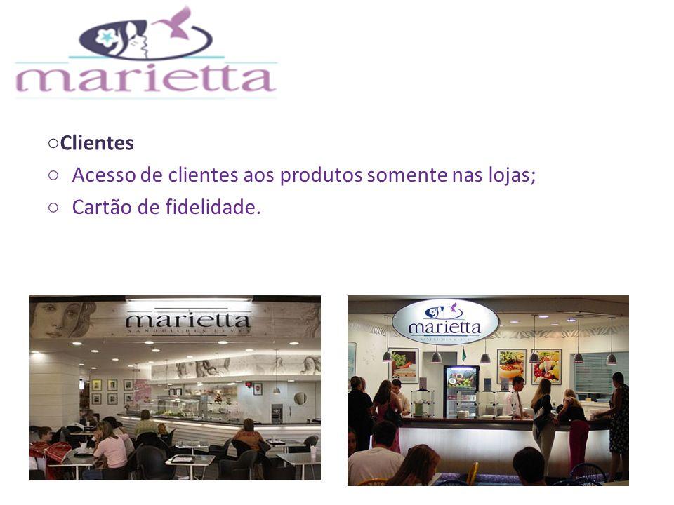Clientes Acesso de clientes aos produtos somente nas lojas; Cartão de fidelidade.