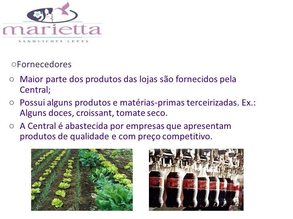 Fornecedores Maior parte dos produtos das lojas são fornecidos pela Central;