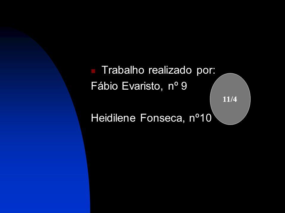 Trabalho realizado por: Fábio Evaristo, nº 9 Heidilene Fonseca, nº10