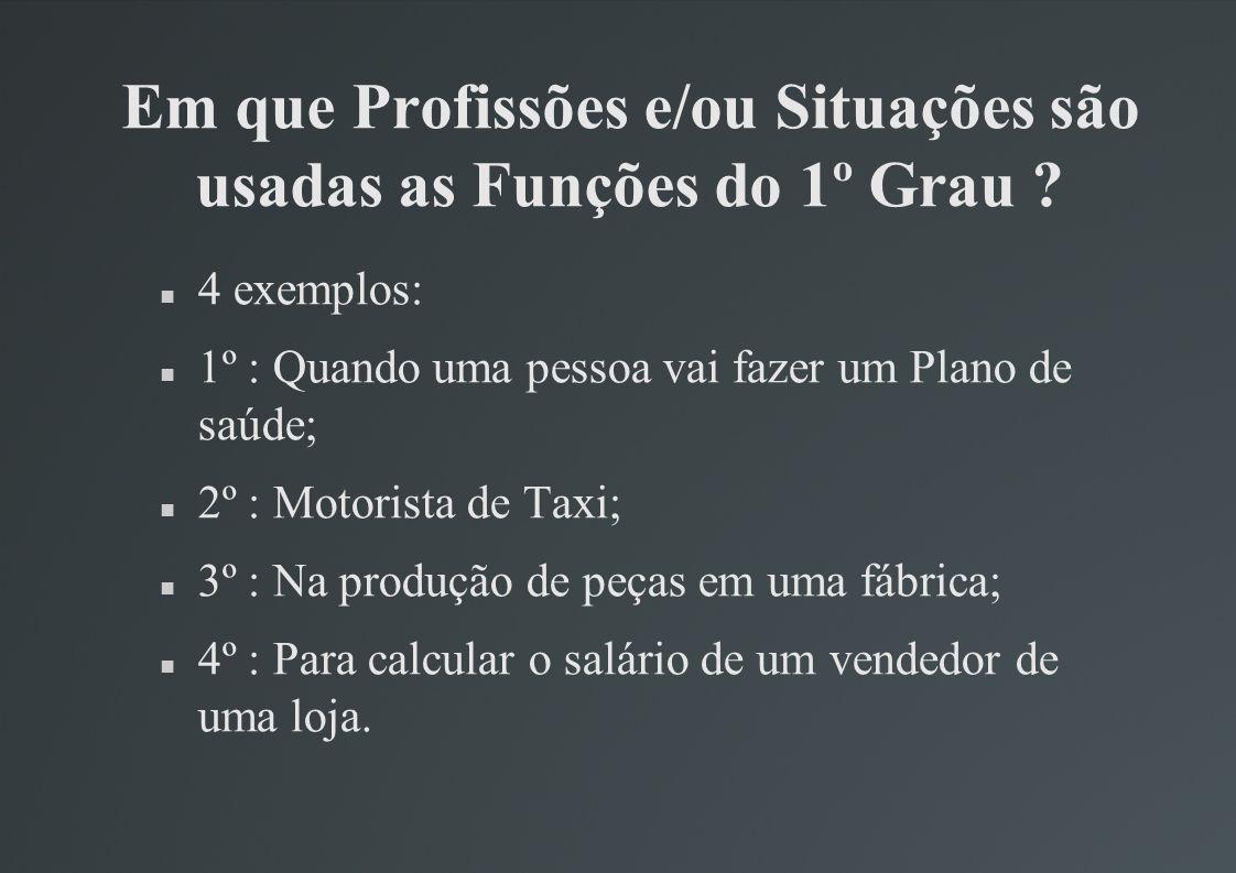 Em que Profissões e/ou Situações são usadas as Funções do 1º Grau