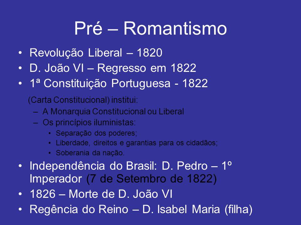 Pré – Romantismo Revolução Liberal – 1820