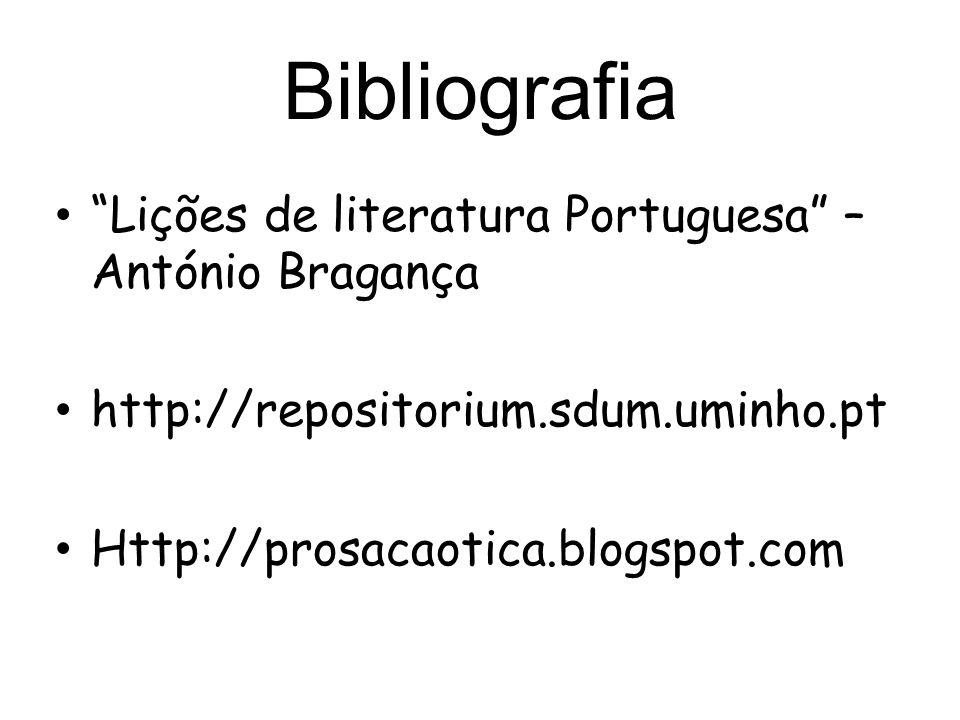 Bibliografia Lições de literatura Portuguesa – António Bragança