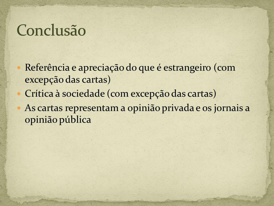 Conclusão Referência e apreciação do que é estrangeiro (com excepção das cartas) Crítica à sociedade (com excepção das cartas)