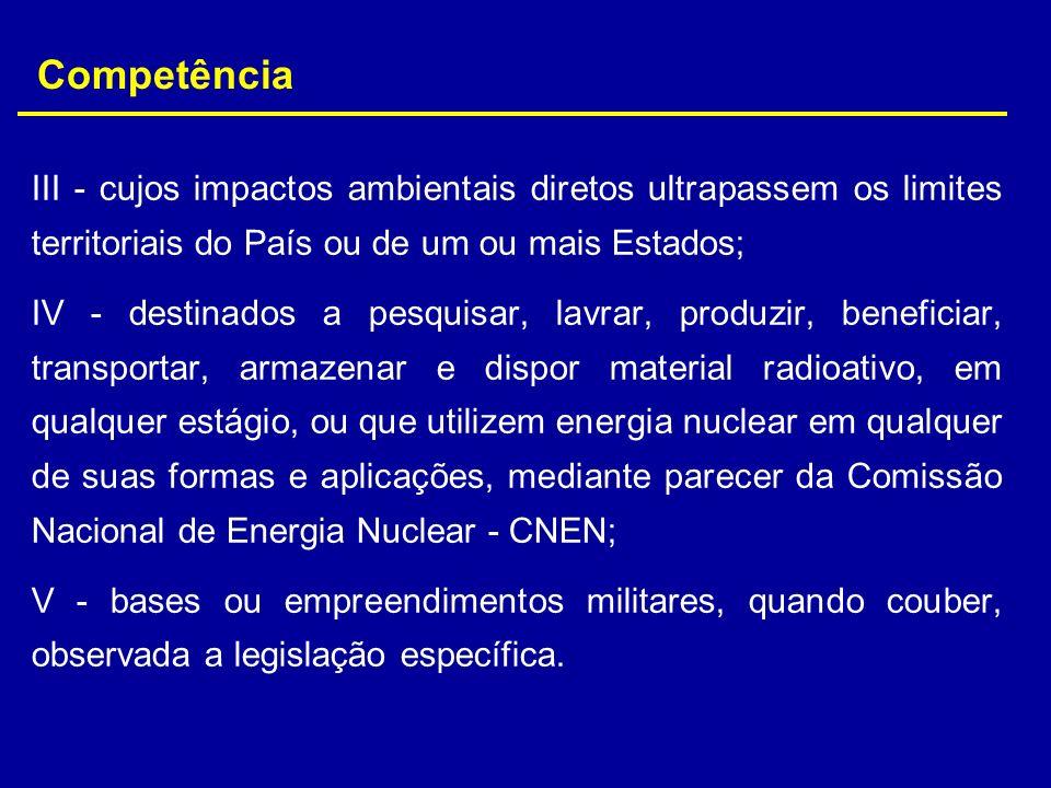 CompetênciaIII - cujos impactos ambientais diretos ultrapassem os limites territoriais do País ou de um ou mais Estados;