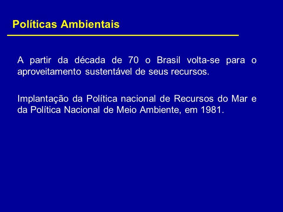 Políticas AmbientaisA partir da década de 70 o Brasil volta-se para o aproveitamento sustentável de seus recursos.