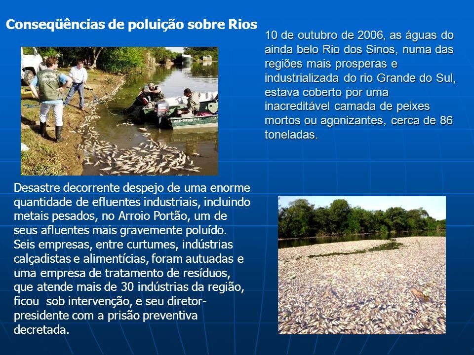 Conseqüências de poluição sobre Rios