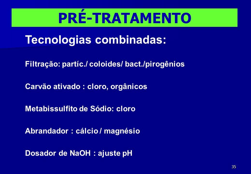 PRÉ-TRATAMENTO Tecnologias combinadas: