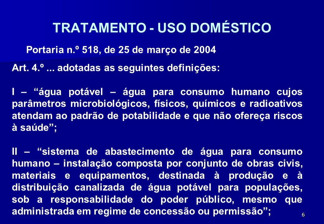 TRATAMENTO - USO DOMÉSTICO