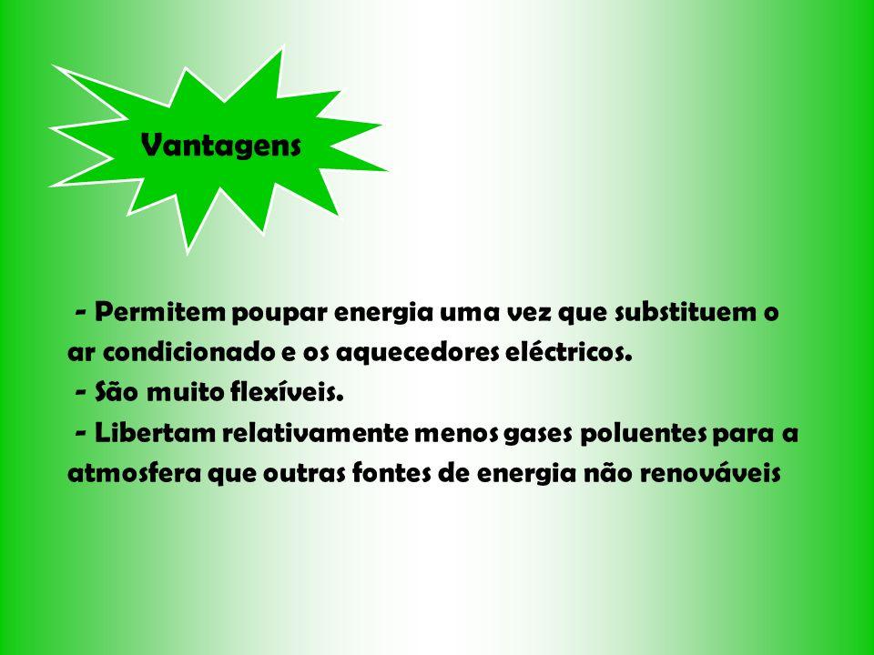 Vantagens- Permitem poupar energia uma vez que substituem o ar condicionado e os aquecedores eléctricos.