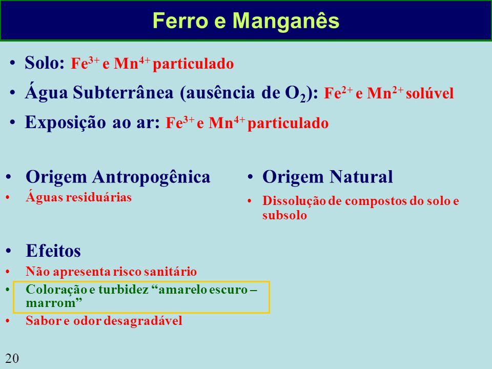 Ferro e Manganês Solo: Fe3+ e Mn4+ particulado
