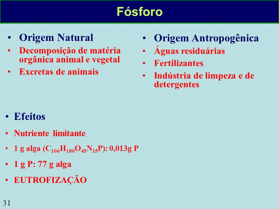 Fósforo Origem Natural Origem Antropogênica Efeitos