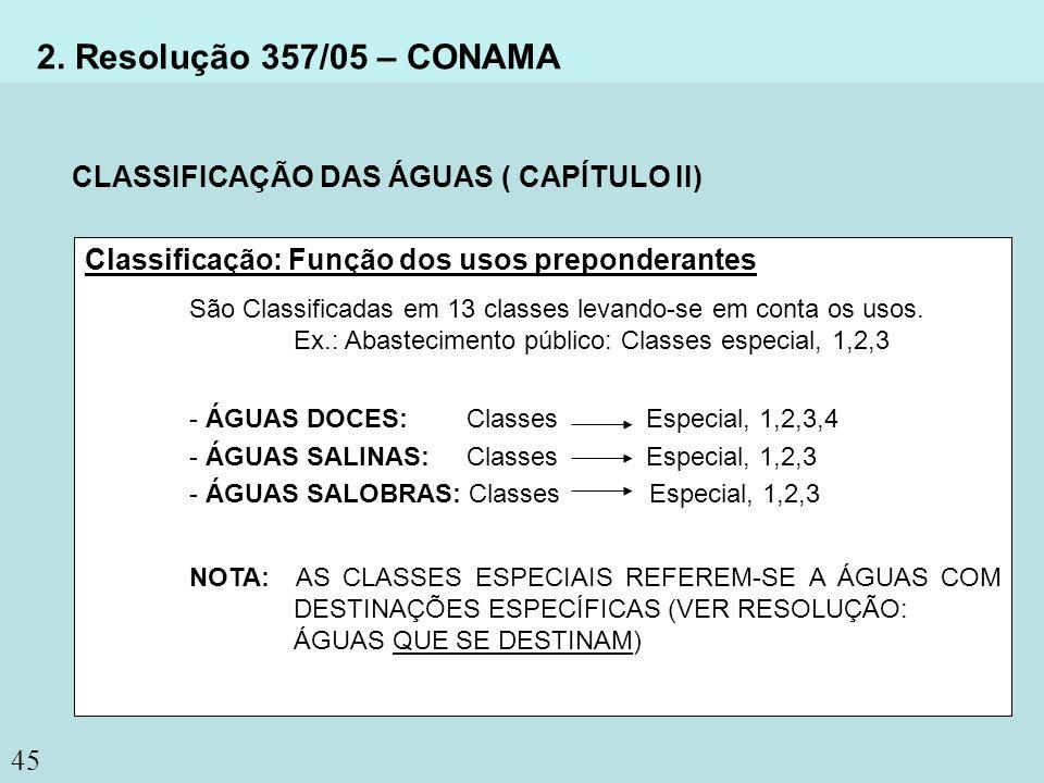 2. Resolução 357/05 – CONAMA CLASSIFICAÇÃO DAS ÁGUAS ( CAPÍTULO II)