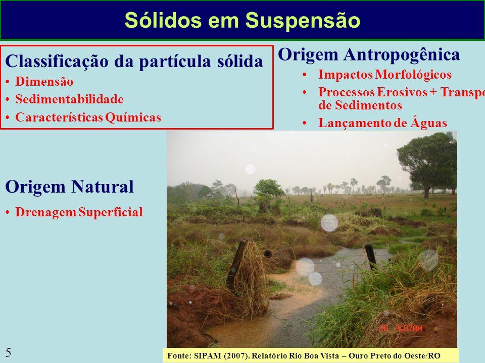 Sólidos em Suspensão Origem Antropogênica