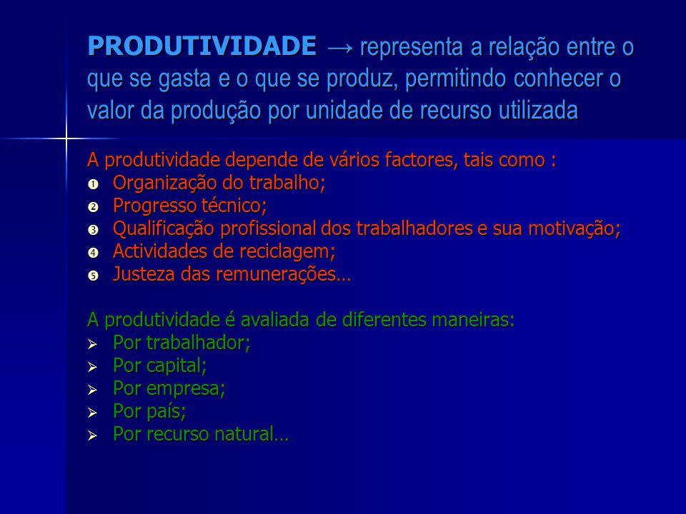 PRODUTIVIDADE → representa a relação entre o que se gasta e o que se produz, permitindo conhecer o valor da produção por unidade de recurso utilizada